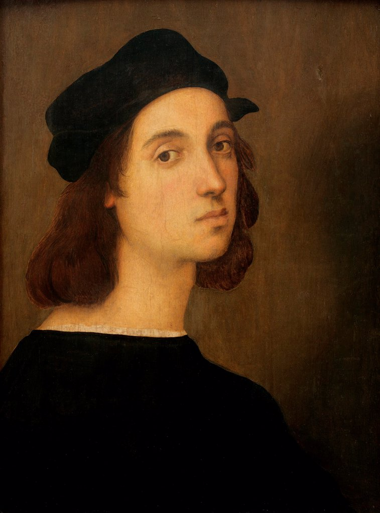 Stock Photo: 4266-20809 Self-Portrait by Raphael (1483-1520)/ Galleria degli Uffizi, Florence/ 1505-1506/ Italy, Roman School/ Oil on cardboard/ Renaissance/ 47,5x33/ Portrait