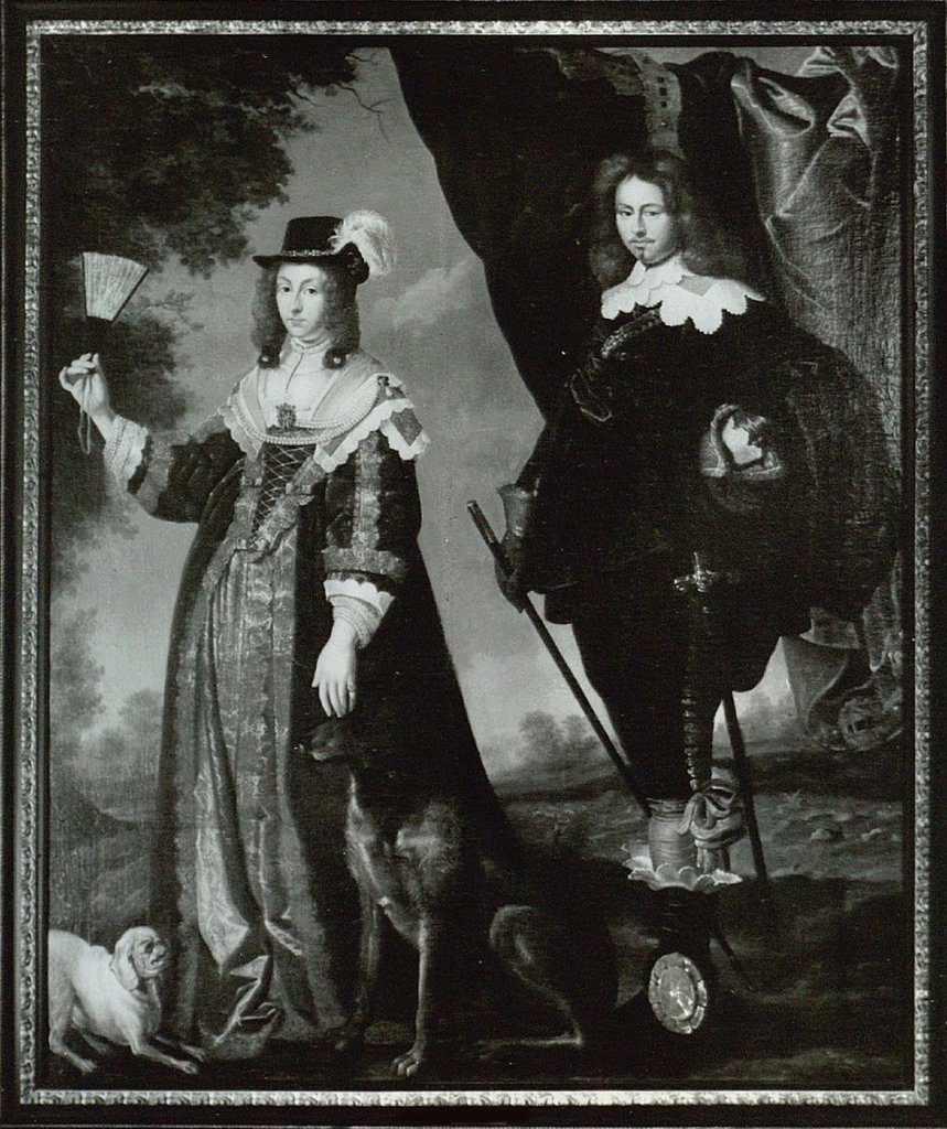 Leonora Christina, Countess Ulfeldt (1621-1698) and Valdemar Christian of Schleswig-Holstein (1622-1656) by Mander, Karel van, III (1609-1670)/ Private Collection/ Holland/ Etching/ Baroque/ Portrait : Stock Photo