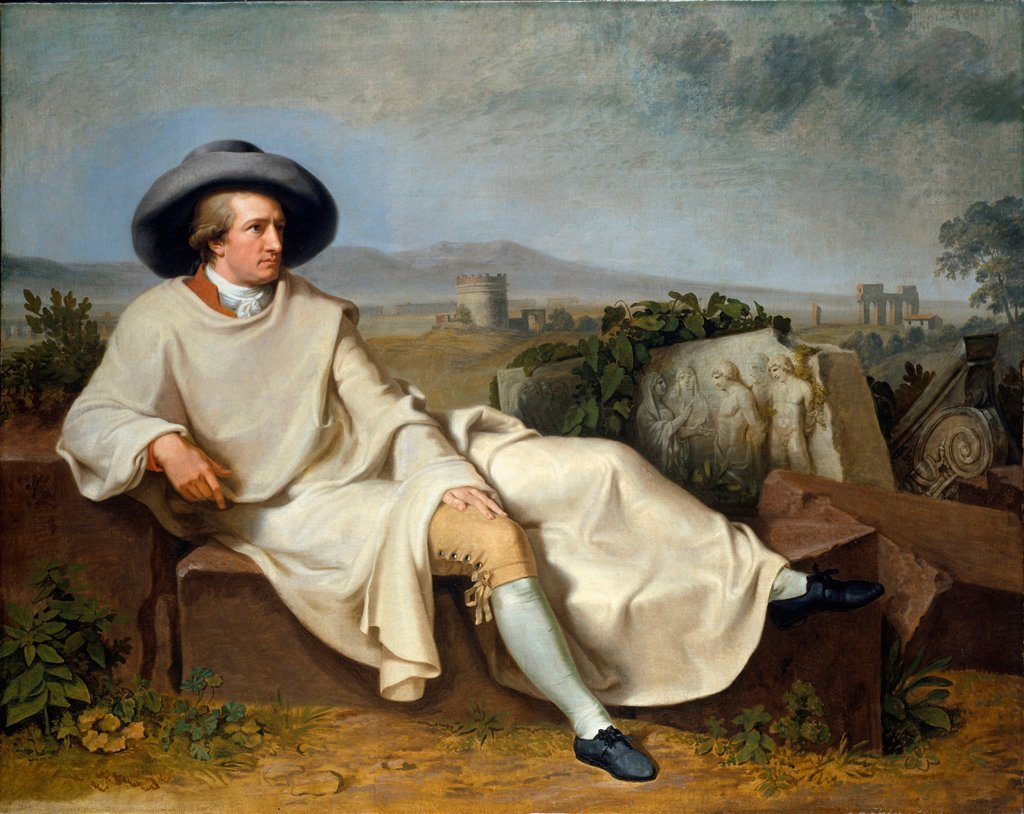 Goethe in the Campagna by Tischbein, Johann Heinrich Wilhelm (1751-1829)/ Stadtische Galerie im Stadelschen Kunstinstitut, Frankfurt am Main/ 1787/ Germany/ Oil on canvas/ Classicism/ 164x206/ Portrait : Stock Photo