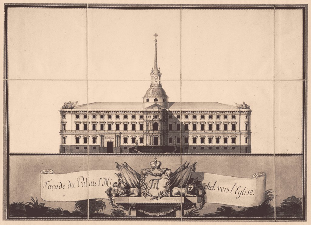 Saint Michael's Castle in Saint Petersburg by Brenna, Vincenzo (1745-1820)/ State Scientific A. Shchusev Research Museum of Architecture, Moscow/ 1797/ Italy/ Ink on paper/ Classicism/ Architecture, Interior : Stock Photo
