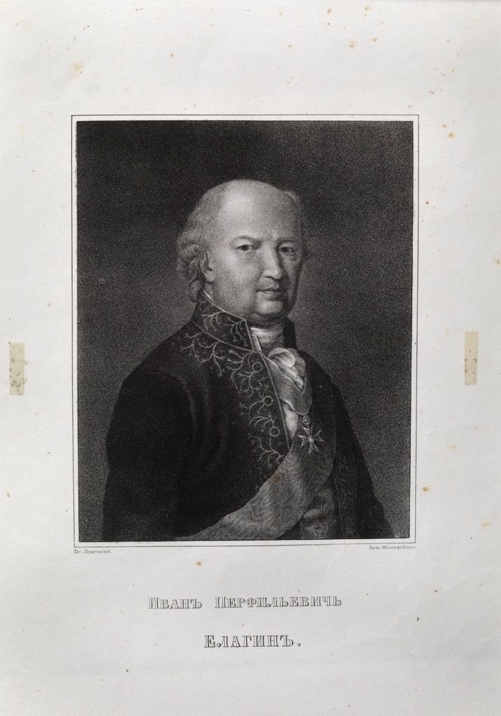 Stock Photo: 4266-20967 Ivan Perfilievich Yelagin (1725-1794) by Shchedrovsky, Ignati Stepanovich (1815-1870)/ Russian State Archive of Literature and Art, Moscow/ Mid of the 19th cen./ Russia/ Lithograph/ Academic art/ Portrait