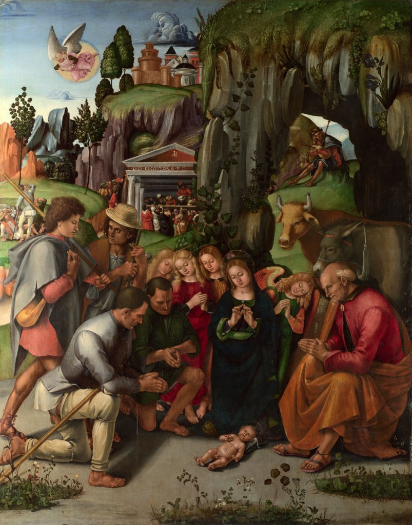 The Adoration of the Shepherds by Signorelli, Luca (ca 1441-1523)/ National Gallery, London/ c. 1496/ Italy, Florentine School/ Oil on wood/ Renaissance/ 215x170,2/ Bible : Stock Photo