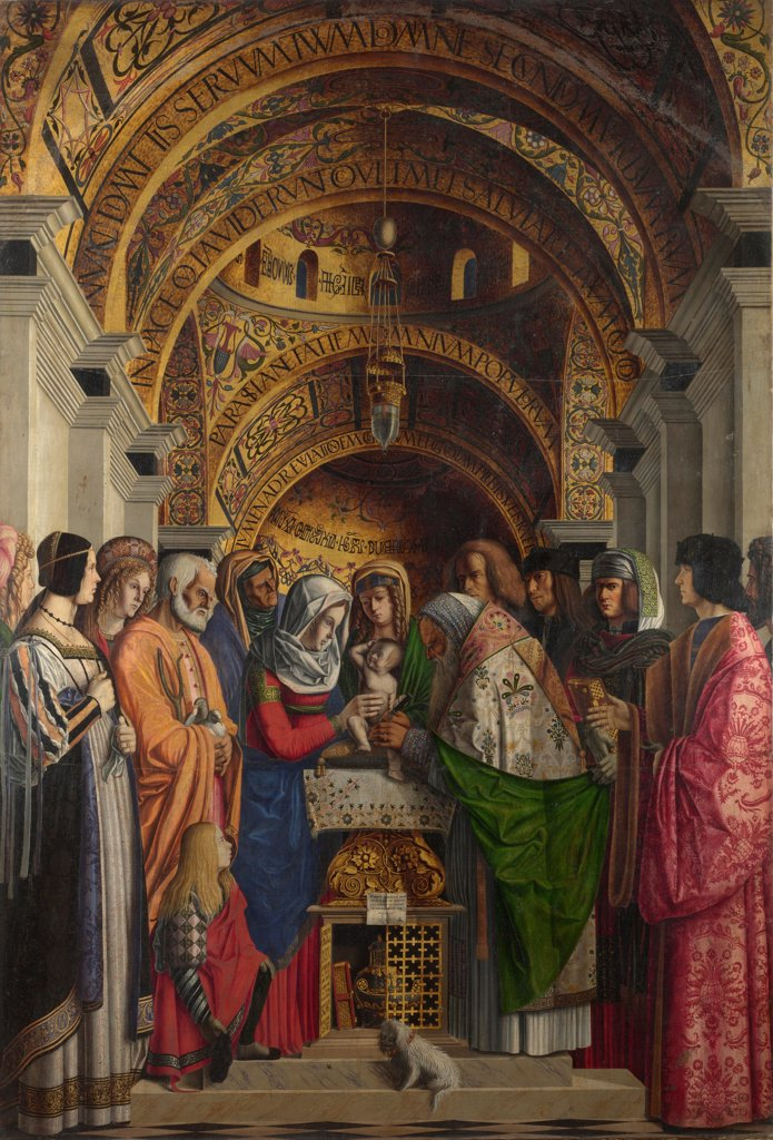 Stock Photo: 4266-20990 The Circumcision by Marziale, Marco (active 1492-1507)/ National Gallery, London/ 1500/ Italy, Venetian School/ Oil on canvas/ Renaissance/ 223x152,7/ Bible
