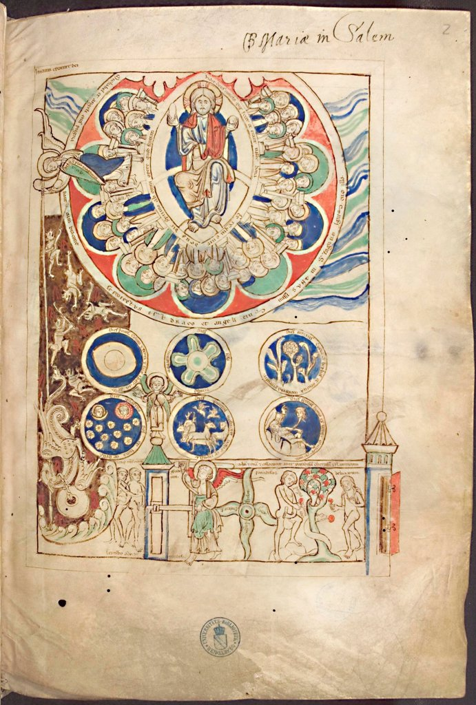 Stock Photo: 4266-21031 Miniature 'Initium creaturae dei' from Liber Scivias by Hildegard of Bingen by Anonymous  / Library of the Ruprecht Karl University, Heidelberg/ ca 1220/ Germany/ Watercolour on parchment/ Gothic/ Music, Dance,Bible,Mythology, Allegory and Literature