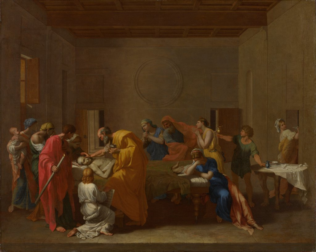 Stock Photo: 4266-21044 Seven Sacraments: Extreme Unction by Poussin, Nicolas (1594-1665)/ National Gallery, London/ ca 1637-1640/ France/ Oil on canvas/ Baroque/ 95,2x120,6/ Bible,Mythology, Allegory and Literature