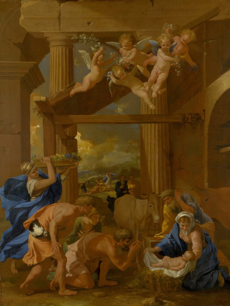 Stock Photo: 4266-21052 The Adoration of the Shepherds by Poussin, Nicolas (1594-1665)/ National Gallery, London/ c. 1633/ France/ Oil on canvas/ Baroque/ 97,2x74/ Bible
