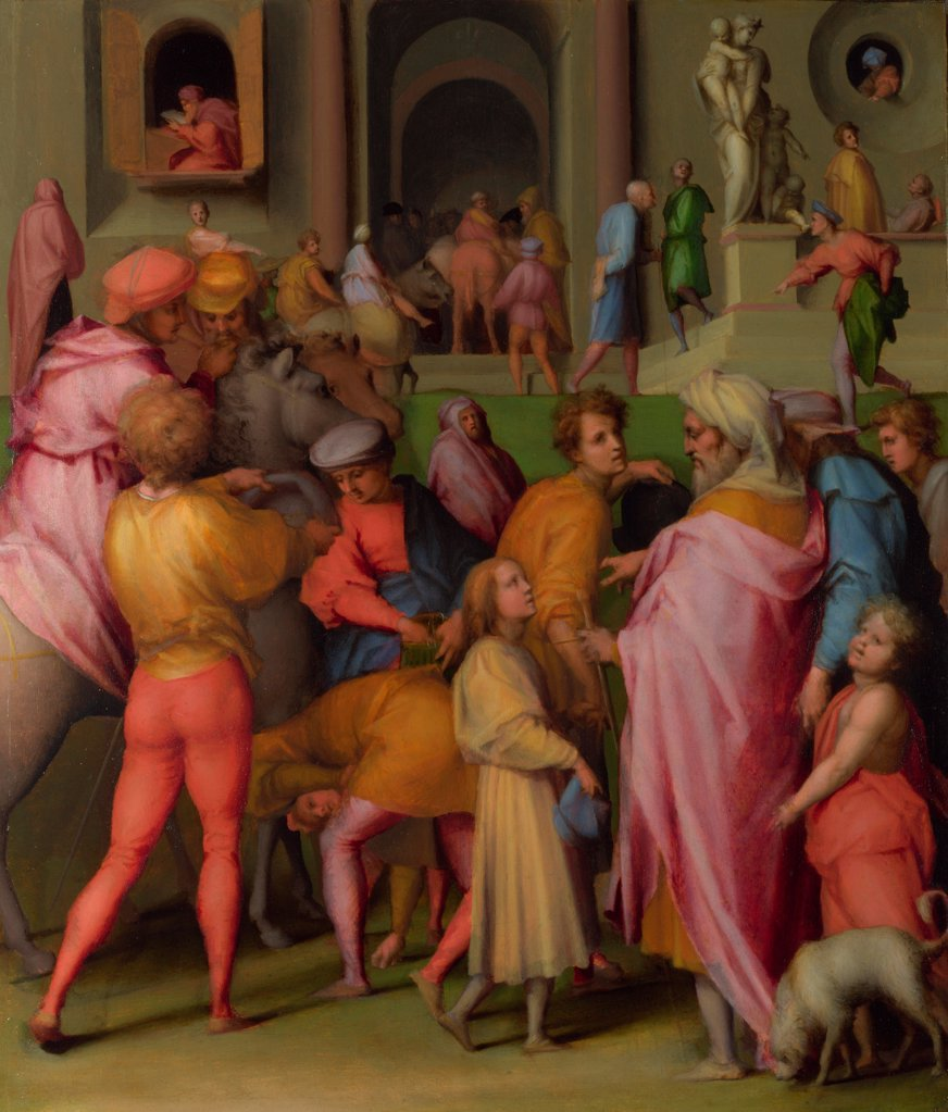 Joseph sold to Potiphar (from Scenes from the Story of Joseph) by Pontormo (1494-1557)/ National Gallery, London/ ca 1515/ Italy, Florentine School/ Oil on wood/ Renaissance/ 61x51,6/ Bible : Stock Photo