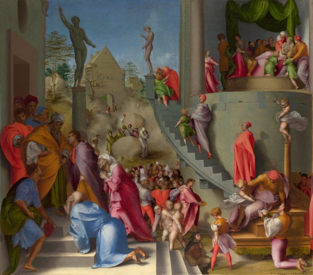 Stock Photo: 4266-21091 Joseph with Jacob in Egypt (from Scenes from the Story of Joseph) by Pontormo (1494-1557)/ National Gallery, London/ ca 1515/ Italy, Florentine School/ Oil on wood/ Renaissance/ 61x51,6/ Bible