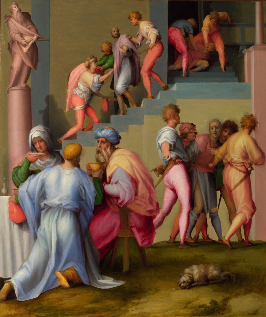 Stock Photo: 4266-21093 Pharaoh with his Butler and Baker (from Scenes from the Story of Joseph) by Pontormo (1494-1557)/ National Gallery, London/ ca 1515/ Italy, Florentine School/ Oil on wood/ Renaissance/ 61x51,7/ Bible