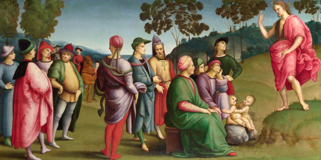 Stock Photo: 4266-21101 Saint John the Baptist Preaching (The Ansidei Altarpiece, San Fiorenzo, Perugia) by Raphael (1483-1520)/ National Gallery, London/ 1505/ Italy, Roman School/ Oil on wood/ Renaissance/ 26,2x52/ Bible