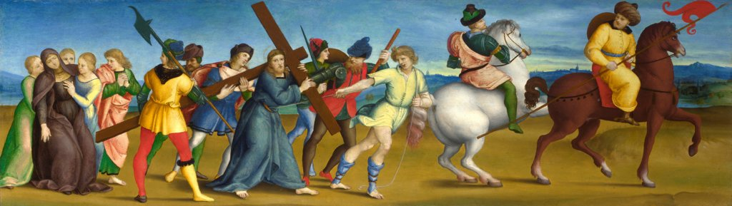 Stock Photo: 4266-21106 The Procession to Calvary by Raphael (1483-1520)/ National Gallery, London/ 1504-1505/ Italy, Roman School/ Oil on wood/ Renaissance/ 24,4x85,5/ Bible
