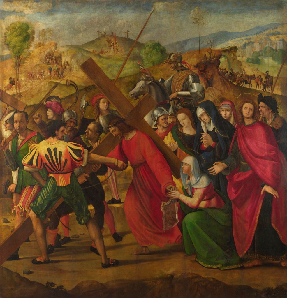 Stock Photo: 4266-21113 The Procession to Calvary by Ghirlandaio, Ridolfo (1483-1561)/ National Gallery, London/ c. 1505/ Italy, Florentine School/ Oil on canvas/ Renaissance/ 166,3x161/ Bible