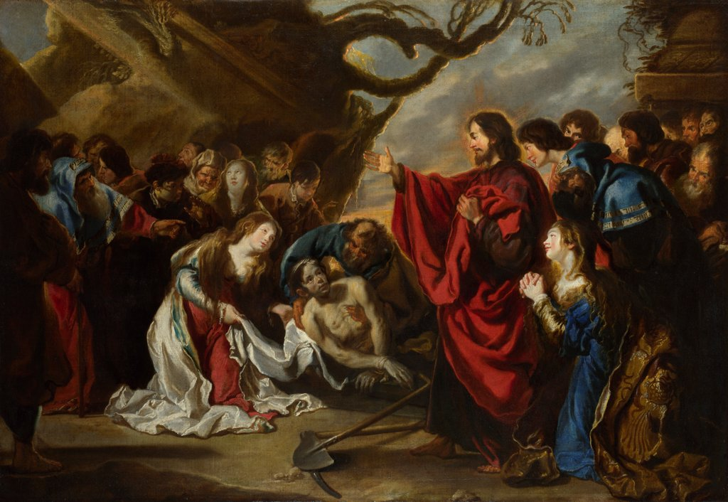 The Raising of Lazarus by Vos, Simon de (1603-1676)/ National Gallery, London/ Flanders/ Oil on canvas/ Baroque/ 109,2x160/ Bible : Stock Photo