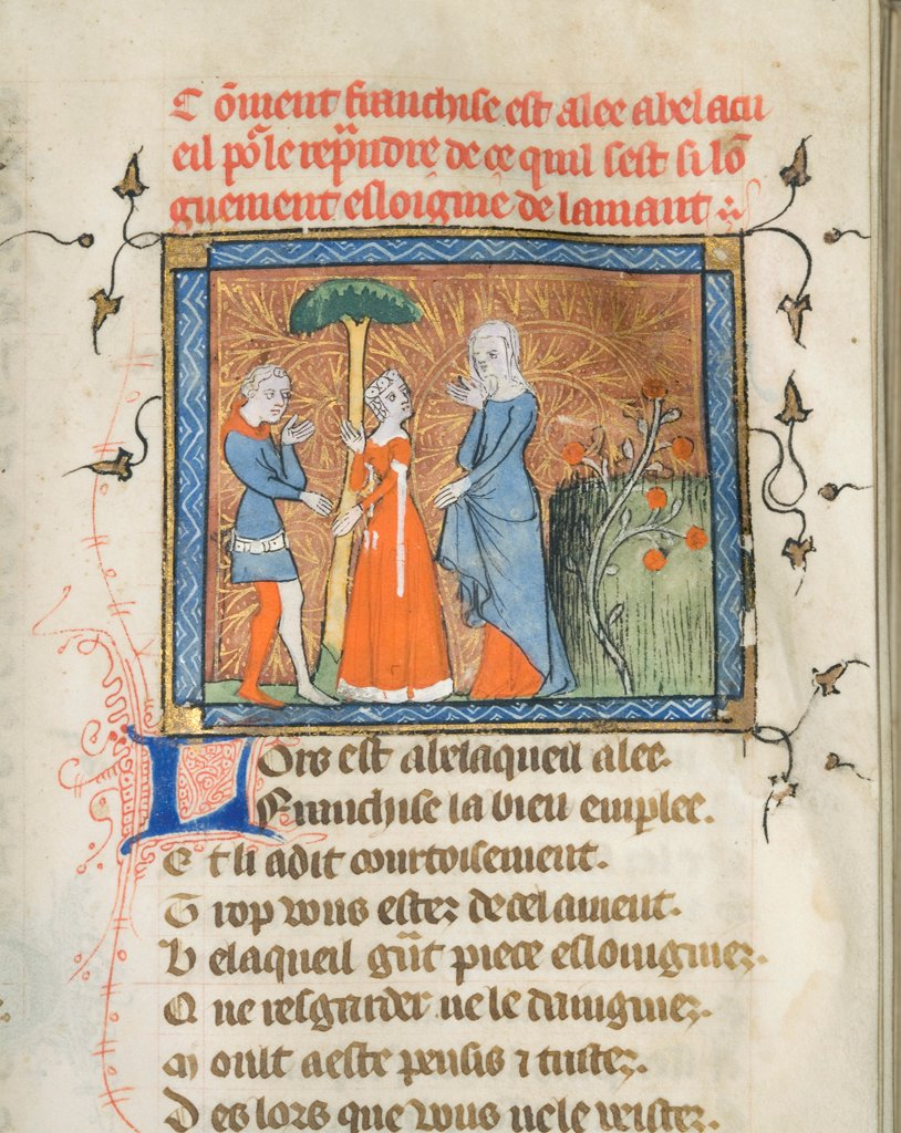 Stock Photo: 4266-21140 Miniature from a manuscript of the Roman de la Rose by Guillaume de Lorris and Jean de Meun by Master of the Rose novels (active Second Half of 14th cen.)/ University of Chicago Library/ ca 1365/ Flanders/ Watercolour on parchment/ Medieval art/ Mytholog