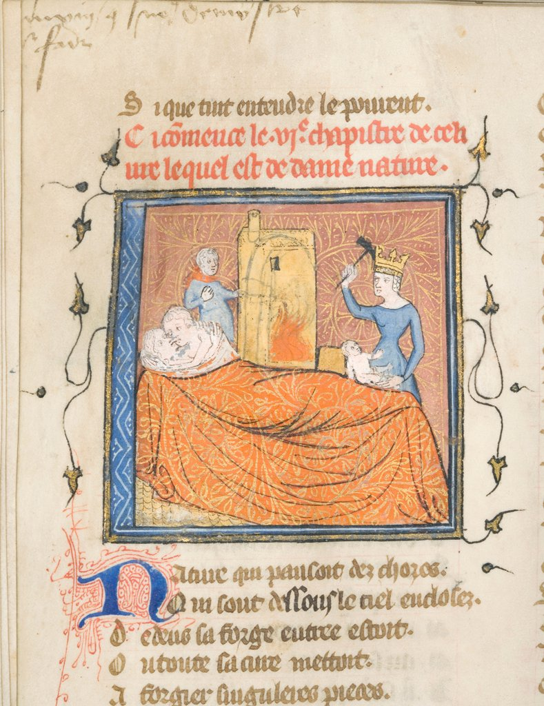 Stock Photo: 4266-21141 Miniature from a manuscript of the Roman de la Rose by Guillaume de Lorris and Jean de Meun by Master of the Rose novels (active Second Half of 14th cen.)/ University of Chicago Library/ ca 1365/ Flanders/ Watercolour on parchment/ Medieval art/ Mytholog