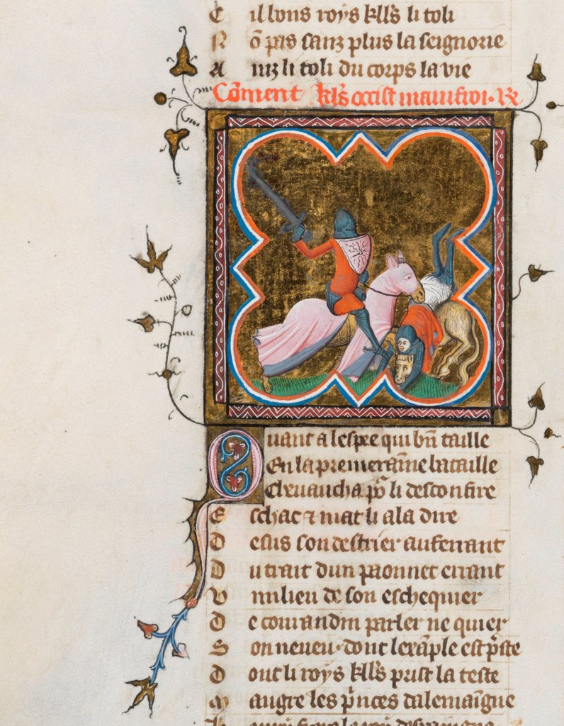 Stock Photo: 4266-21144 Miniature from a manuscript of the Roman de la Rose by Guillaume de Lorris and Jean de Meun by Master of the Rose novels (active Second Half of 14th cen.)/ Bibliotheque de Geneve/ 1353/ Flanders/ Watercolour on parchment/ Medieval art/ 29x21/ Mythology,