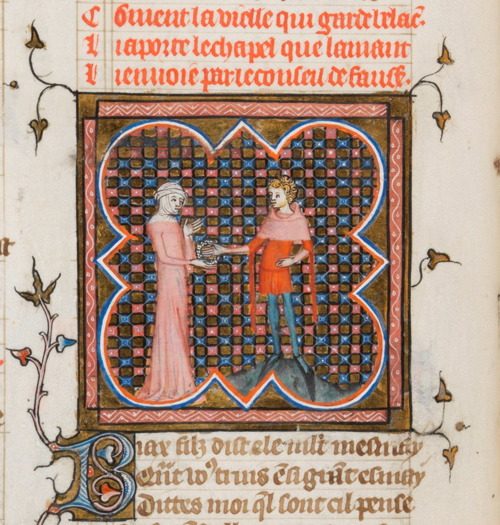 Stock Photo: 4266-21145 Miniature from a manuscript of the Roman de la Rose by Guillaume de Lorris and Jean de Meun by Master of the Rose novels (active Second Half of 14th cen.)/ Bibliotheque de Geneve/ 1353/ Flanders/ Watercolour on parchment/ Medieval art/ 29x21/ Mythology,