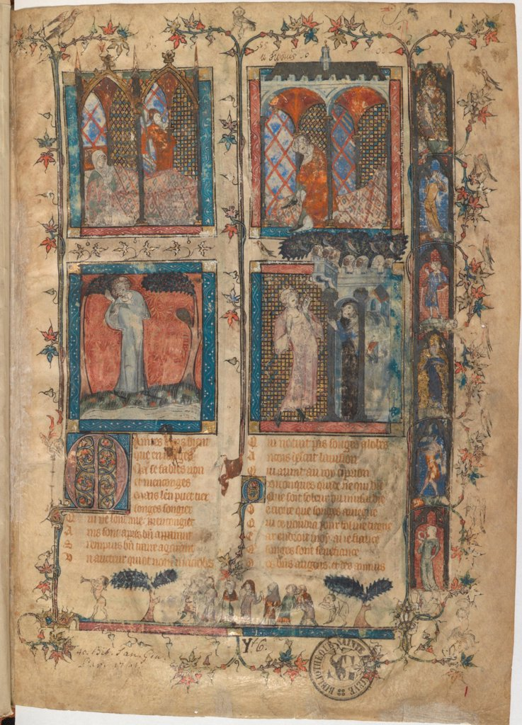 Stock Photo: 4266-21146 Miniature from a manuscript of the Roman de la Rose by Guillaume de Lorris and Jean de Meun by Master of the Rose novels (active Second Half of 14th cen.)/ Bibliotheque de Geneve/ 1353/ Flanders/ Watercolour on parchment/ Medieval art/ Mythology, Allegor