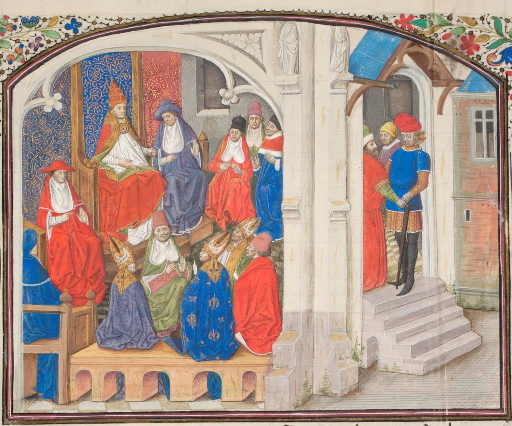 The Council of Clermont in 1095. Miniature from the 'Historia' by William of Tyre by Anonymous  / Bibliotheque de Geneve/ 1460s/ France/ Watercolour on parchment/ Medieval art/ History : Stock Photo