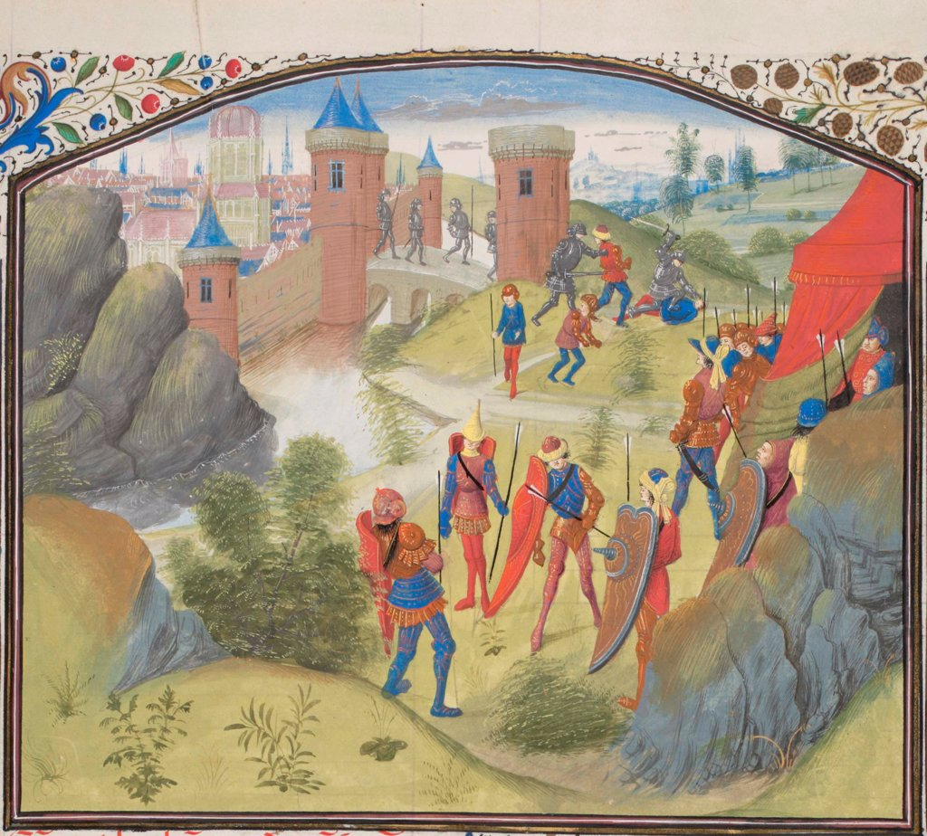 Stock Photo: 4266-21151 The Siege of Antioch. Miniature from the 'Historia' by William of Tyre by Anonymous  / Bibliotheque de Geneve/ 1460s/ France/ Watercolour on parchment/ Medieval art/ History