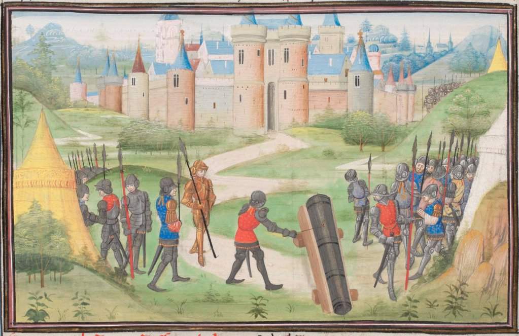Stock Photo: 4266-21152 Camp of the Crusaders near Jerusalem. Miniature from the 'Historia' by William of Tyre by Anonymous  / Bibliotheque de Geneve/ 1460s/ France/ Watercolour on parchment/ Medieval art/ History
