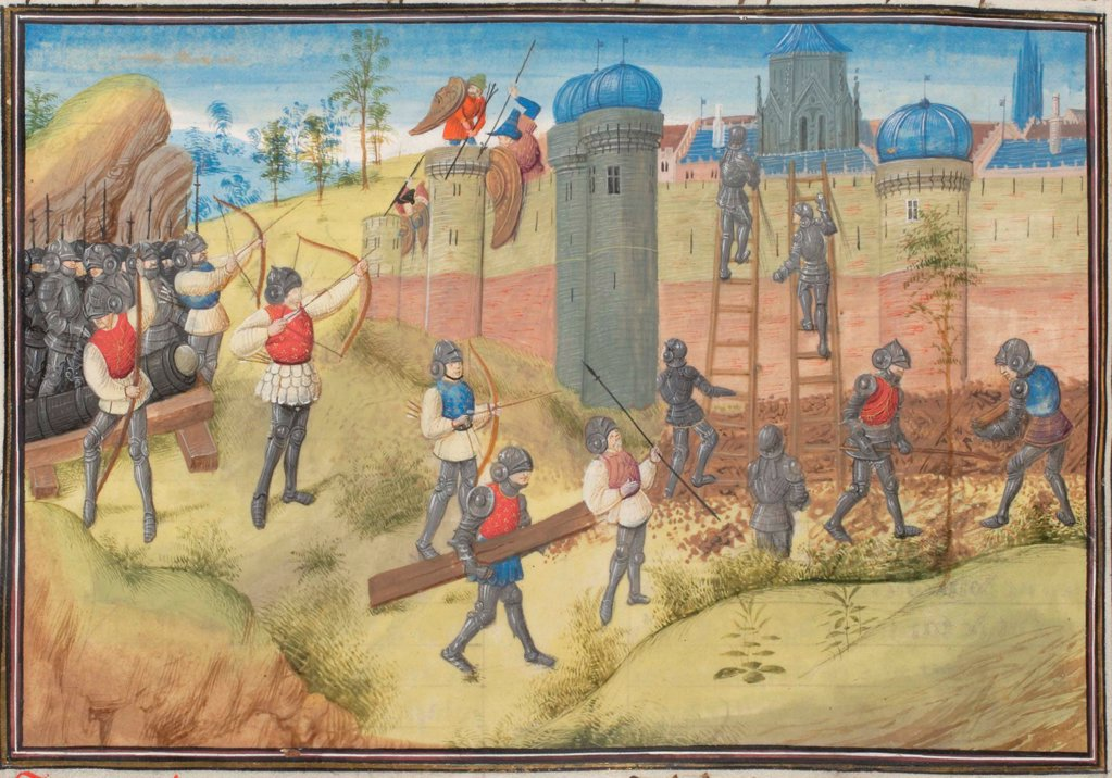The Siege of Jerusalem, 1099. Miniature from the 'Historia' by William of Tyre by Anonymous  / Bibliotheque de Geneve/ 1460s/ France/ Watercolour on parchment/ Medieval art/ History : Stock Photo