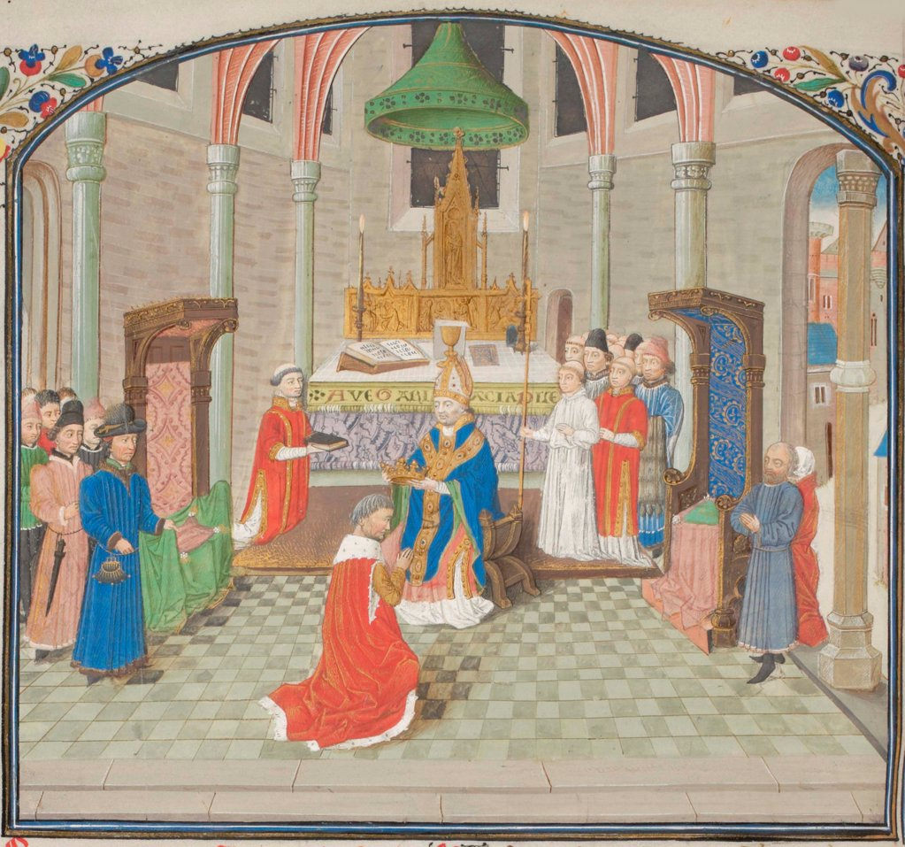 Stock Photo: 4266-21154 The coronation of Baldwin I on Christmas Day 1100. Miniature from the 'Historia' by William of Tyre by Anonymous  / Bibliotheque de Geneve/ 1460s/ France/ Watercolour on parchment/ Medieval art/ History