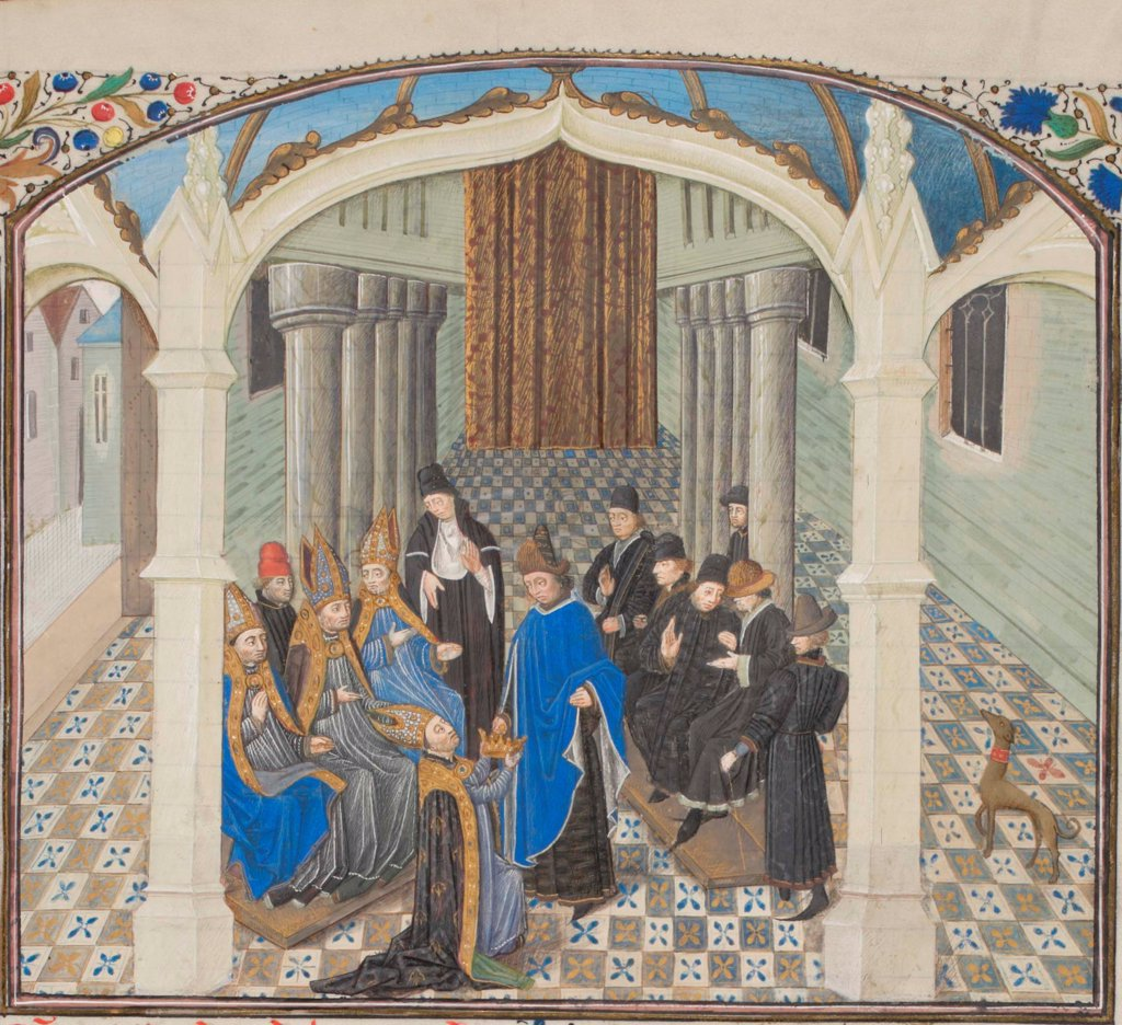 Stock Photo: 4266-21155 The coronation of Baldwin II on 1118. Miniature from the 'Historia' by William of Tyre by Anonymous  / Bibliotheque de Geneve/ 1460s/ France/ Watercolour on parchment/ Medieval art/ History