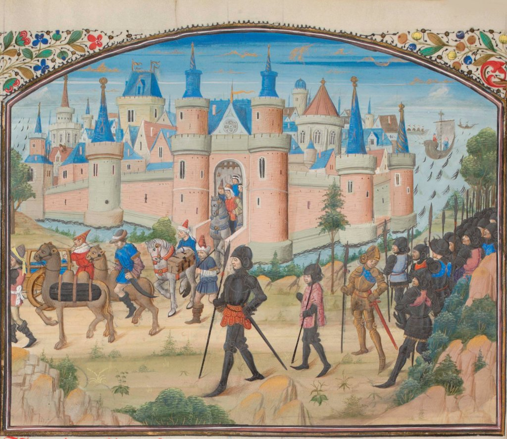 Stock Photo: 4266-21156 The Siege of Tyre, 1124. Miniature from the 'Historia' by William of Tyre by Anonymous  / Bibliotheque de Geneve/ 1460s/ France/ Watercolour on parchment/ Medieval art/ History