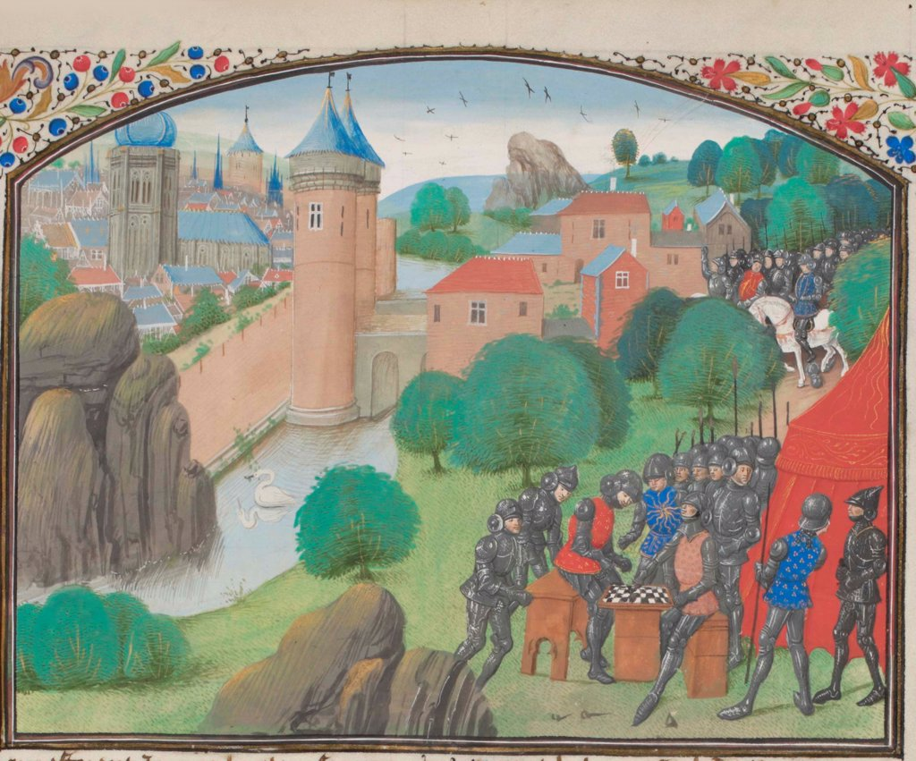 Stock Photo: 4266-21157 Soldiers playing dice before the city of Caesarea. Miniature from the 'Historia' by William of Tyre by Anonymous  / Bibliotheque de Geneve/ 1460s/ France/ Watercolour on parchment/ Medieval art/ History
