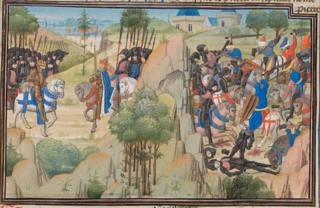 Meeting of Conrad III of Germany and Louis VII of France. Miniature from the 'Historia' by William of Tyre by Anonymous  / Bibliotheque de Geneve/ 1460s/ France/ Watercolour on parchment/ Medieval art/ History : Stock Photo