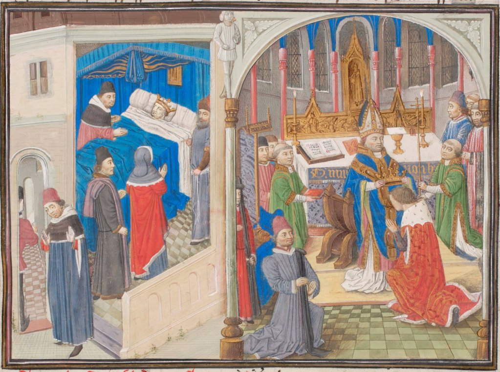 Stock Photo: 4266-21159 Death of Amalric I of Jerusalem. Coronation of Baldwin IV. Miniature from the 'Historia' by William of Tyre by Anonymous  / Bibliotheque de Geneve/ 1460s/ France/ Watercolour on parchment/ Medieval art/ History