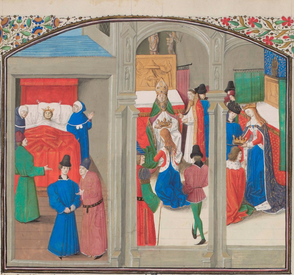 Stock Photo: 4266-21160 Death of Baldwin IV. Coronation of Guy of Lusignan. Miniature from the 'Historia' by William of Tyre by Anonymous  / Bibliotheque de Geneve/ 1460s/ France/ Watercolour on parchment/ Medieval art/ History