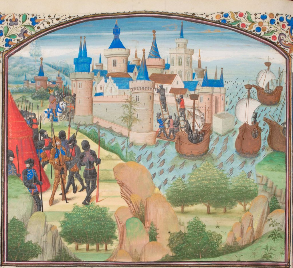 Stock Photo: 4266-21161 The capture of Constantinople by land and sea in 1204. Miniature from the 'Historia' by William of Tyre by Anonymous  / Bibliotheque de Geneve/ 1460s/ France/ Watercolour on parchment/ Medieval art/ History