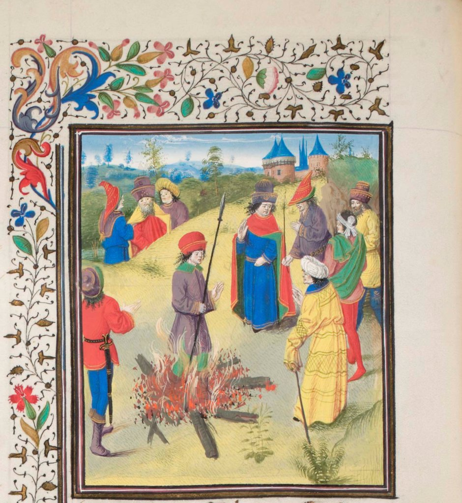 Stock Photo: 4266-21166 Peter Bartholomew Undergoing the Ordeal by Fire. Miniature from the 'Historia' by William of Tyre by Anonymous  / Bibliotheque de Geneve/ 1460s/ France/ Watercolour on parchment/ Medieval art/ History