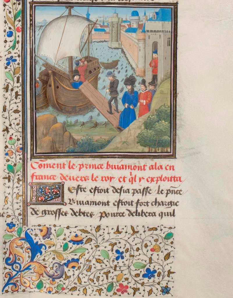 Stock Photo: 4266-21167 Bohemond I of Antioch traveled back to Apulia. Miniature from the 'Historia' by William of Tyre by Anonymous  / Bibliotheque de Geneve/ 1460s/ France/ Watercolour on parchment/ Medieval art/ History