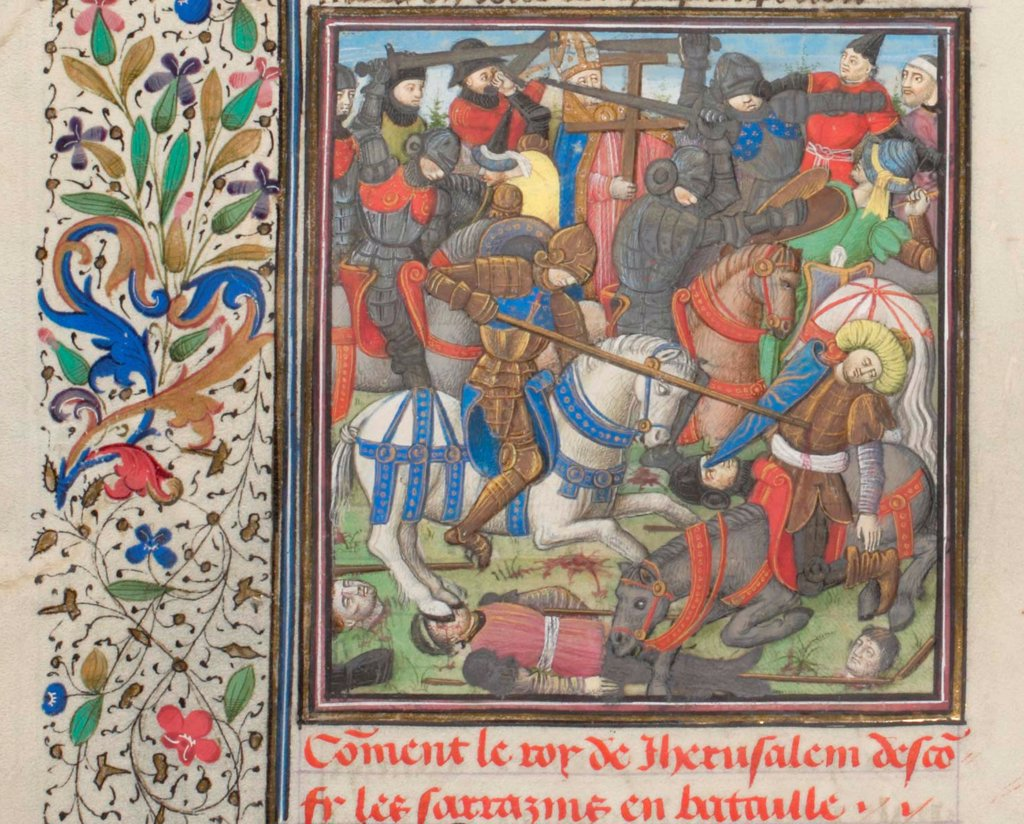 Stock Photo: 4266-21168 The battle between the Crusaders and Saracens. Miniature from the 'Historia' by William of Tyre by Anonymous  / Bibliotheque de Geneve/ 1460s/ France/ Watercolour on parchment/ Medieval art/ History