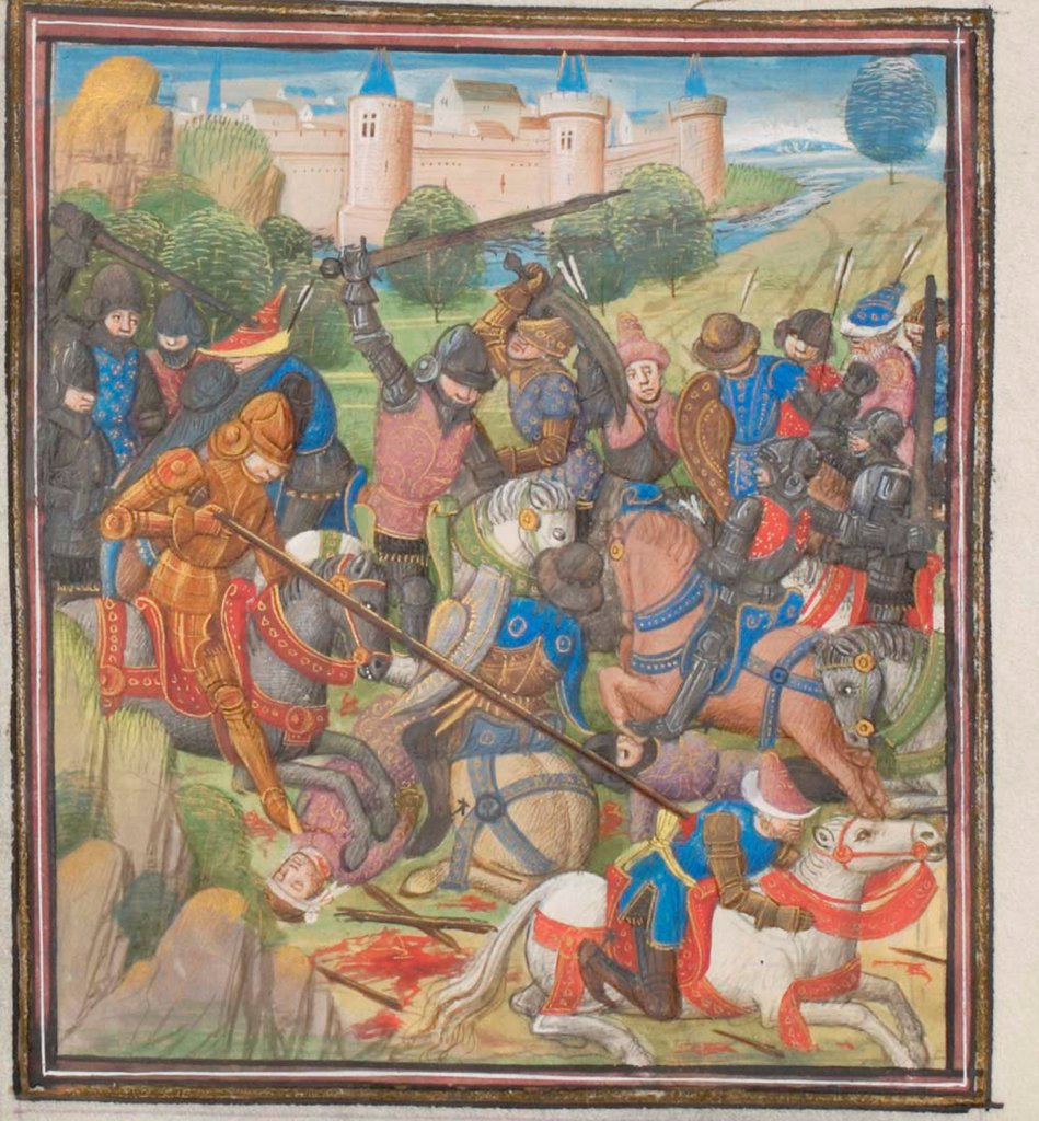 Battle between Crusaders under Baldwin II of Jerusalem and the Saracens. Miniature from the 'Historia' by William of Tyre by Anonymous  / Bibliotheque de Geneve/ 1460s/ France/ Watercolour on parchment/ Medieval art/ History : Stock Photo