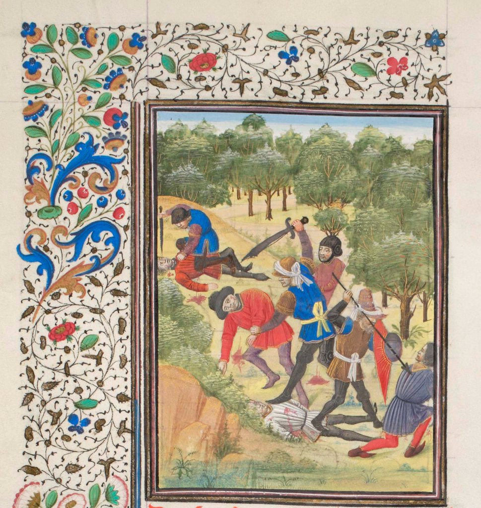 Stock Photo: 4266-21170 Fight in a wood between Christians and Saracens. Miniature from the 'Historia' by William of Tyre by Anonymous  / Bibliotheque de Geneve/ 1460s/ France/ Watercolour on parchment/ Medieval art/ History