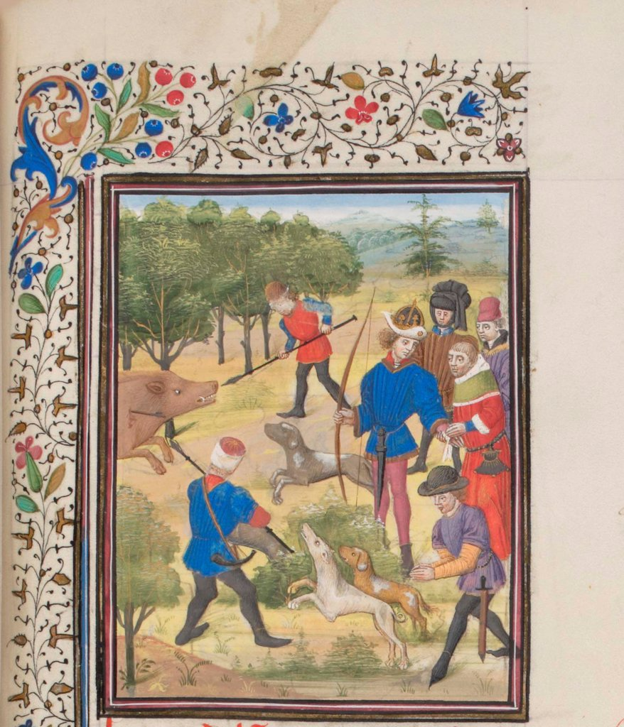 Stock Photo: 4266-21171 John II Comnenus, Byzantine emperor at the hunt. Miniature from the 'Historia' by William of Tyre by Anonymous  / Bibliotheque de Geneve/ 1460s/ France/ Watercolour on parchment/ Medieval art/ History