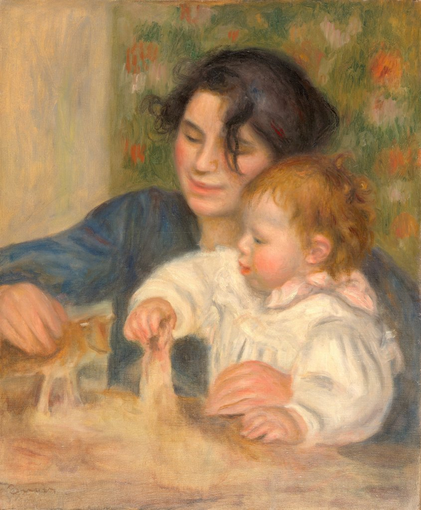 Gabrielle Renard and infant son, Jean by Renoir, Pierre Auguste (1841-1919)/ Musee de l'Orangerie, Paris/ 1896/ France/ Oil on canvas/ Impressionism/ 65x54/ Portrait,Genre : Stock Photo
