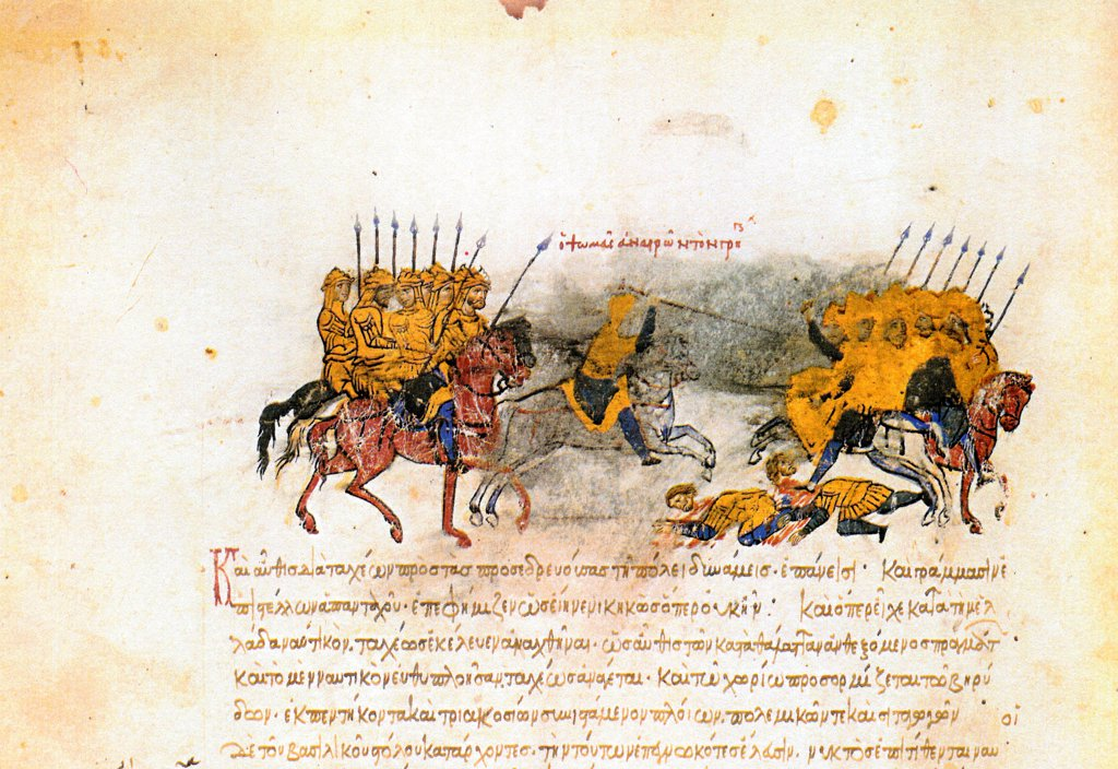 Stock Photo: 4266-21263 Miniature from the Madrid Skylitzes by Anonymous  / Biblioteca Nacional, Madrid/ 11th-12th century/ Byzantium/ Watercolour on parchment/ Medieval art/ History