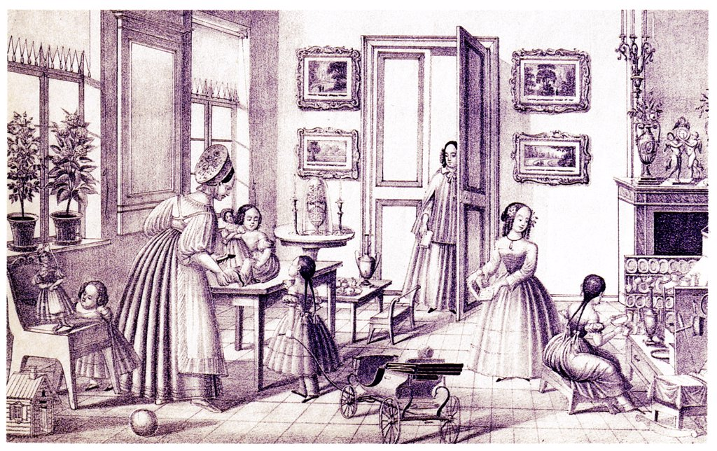Stock Photo: 4266-21270 Children's Room by Vdovichev, P. (active First Half of 19th cen.)/ State Russian Museum, St. Petersburg/ Early 19th cen./ Russia/ Lithograph/ Romanticism/ 19,2x31,4/ Architecture, Interior,Genre