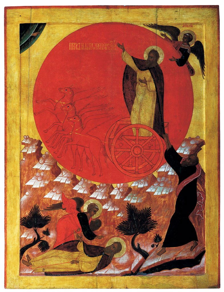 Stock Photo: 4266-21301 The Prophet Elijah and the Fiery Chariot by Russian icon  / Regional Art Museum, Solvychegodsk/ 1570s/ Russia, Northern School/ Tempera on panel/ Russian icon painting/ Bible
