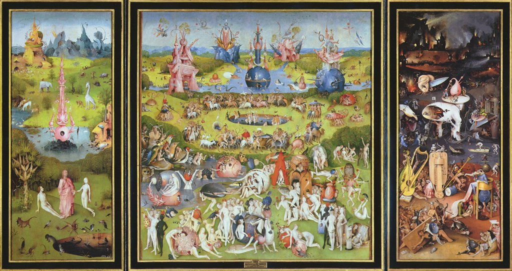The Garden of Earthly Delights by Hieronymus Bosch, oil on wood, 1500s, 1450?-1516, Spain, Madrid, Museo del Prado, 220x389 : Stock Photo