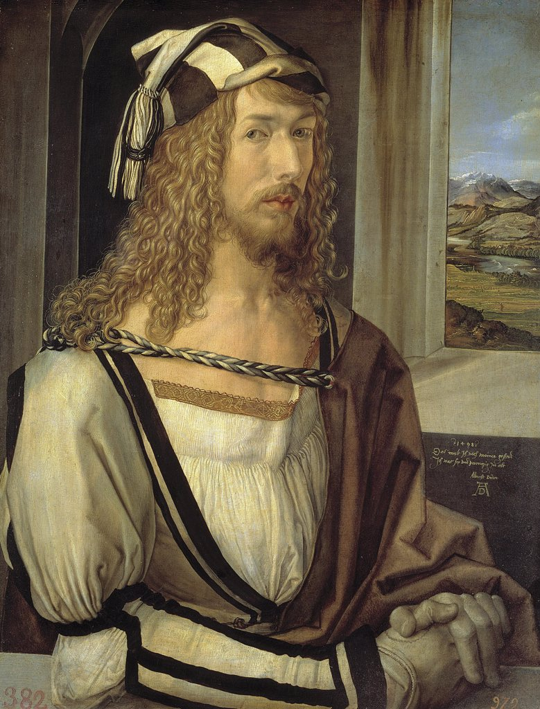 Stock Photo: 4266-2135 Selfportrait by Albrecht Durer, oil on wood, 1498, 1471-1528, Spain, Madrid, Museo del Prado, 52x41