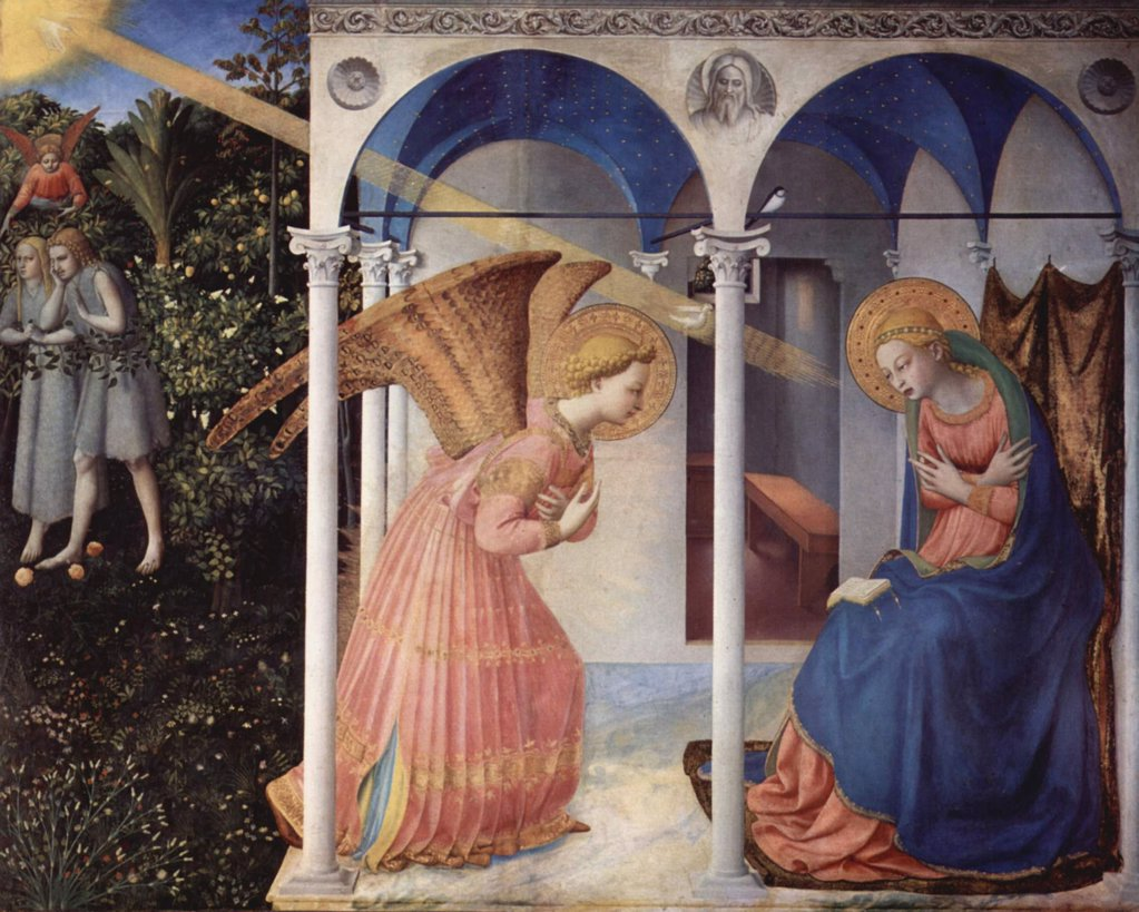 Annunciation by Giovanni da Fiesole known as Fra Angelico, tempera on panel, 1430-1432, circa 1400-1455, Spain, Madrid, Museo del Prado, 154x194 : Stock Photo