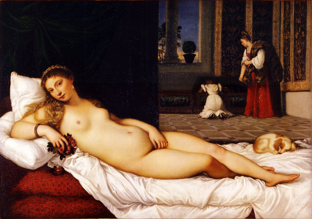 Stock Photo: 4266-2137 Venus from Urbino by Titian, oil on canvas, 1538, 1488-1576, Italy, Florence, Galleria degli Uffizi, 119x165