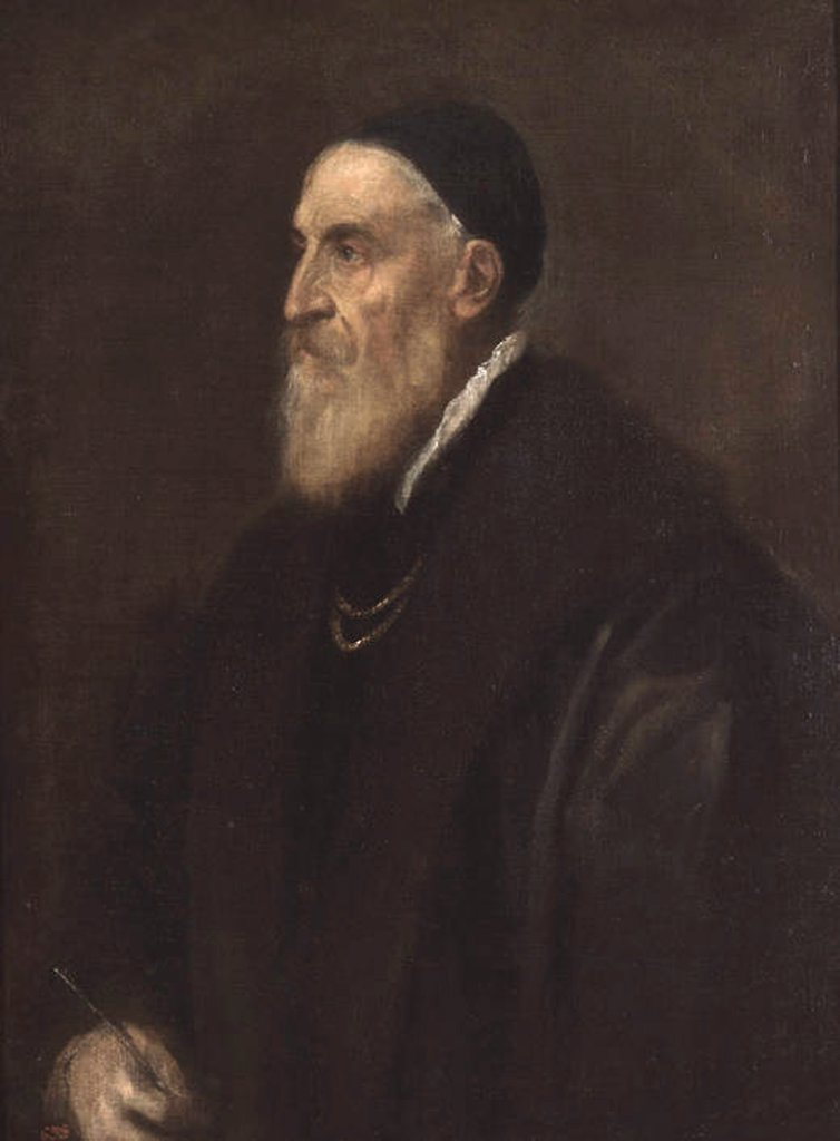 Stock Photo: 4266-2139 Selfportrait by Titian, oil on canvas, circa 1567, 1488-1576, Spain, Madrid, Museo del Prado, 86x65
