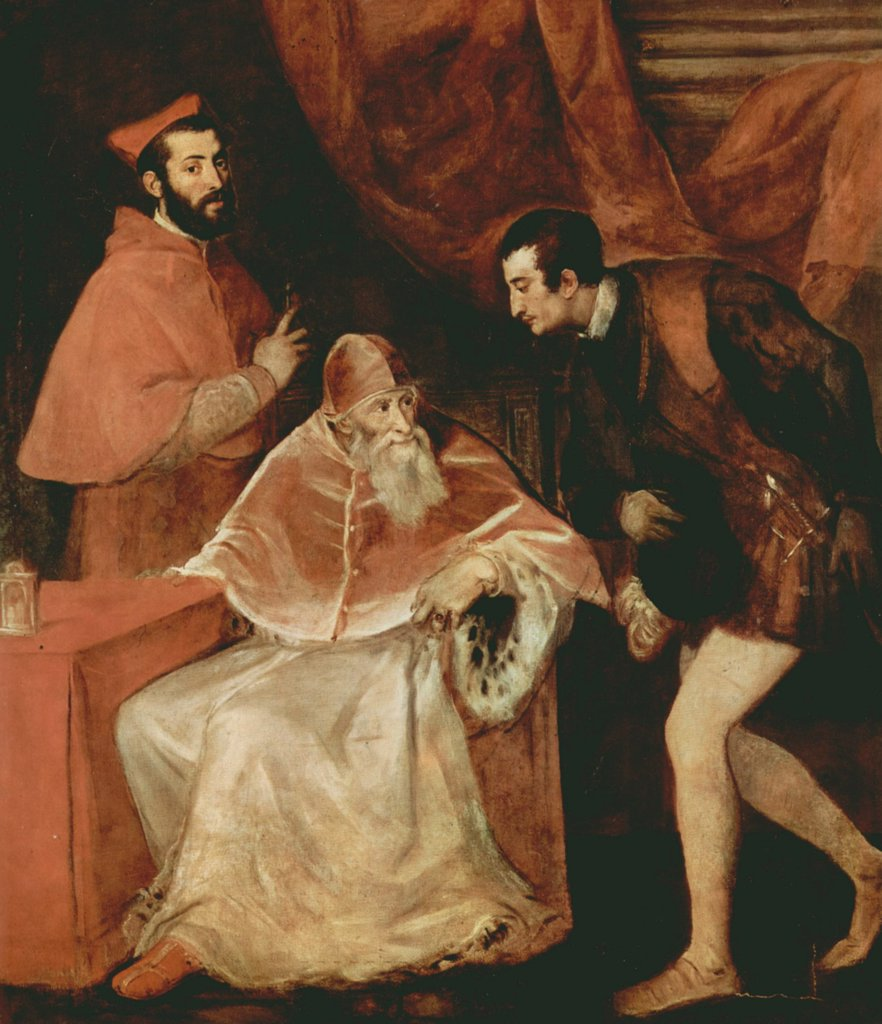 Duke of Parma with pope and cardinal by Titian, oil on canvas, 1546, 1488-1576, Italy, Naples, Museo di Capodimonte, 210x176 : Stock Photo